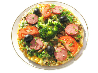 pizza with sausage