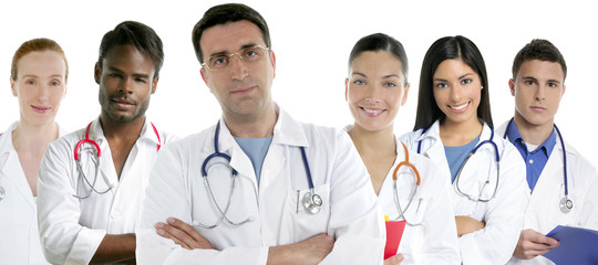 Doctors team group in a row white background
