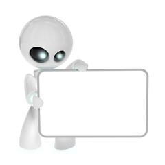 Piccolo robot con lavagna bianca