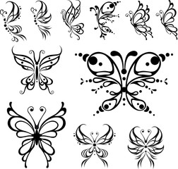 Butterfly tattoo. Vector Illustration, isolated objects.