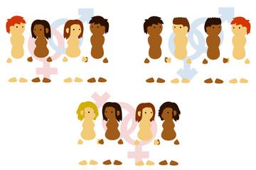 Couples mixtes hétéros, gays et lesbiens