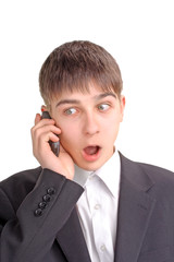 amazed teenager get the news on the mobile phone