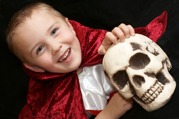 boy with scull