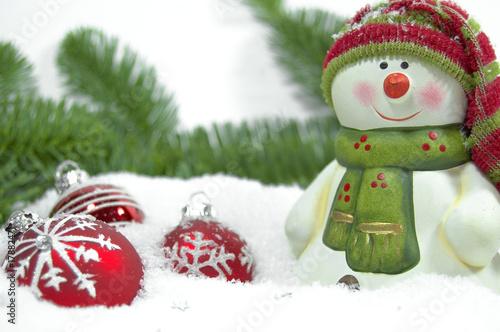 Schneemann mit Schnee und Christbaumkugeln