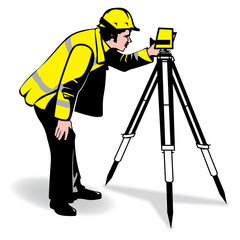 a vector image of a surveyor in a bright jacket