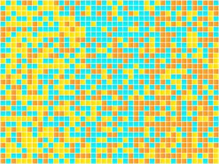 Orange, Yellow and Blue Mosaic. Vector Image