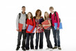 Full Length Studio Portrait Of Five Teenage Students