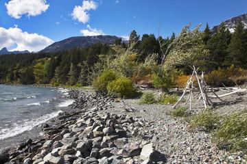 Coast of cold mountain lake