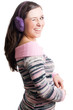 Beauty young woman with violet Headphones