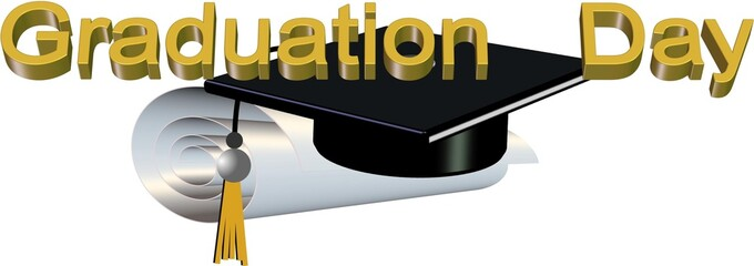 graduation day in 3d on white