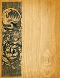 Renaissance engravings on  red oak wood poster