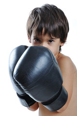 Boxing gloves on children hands