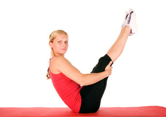 Beautiful blond women exercising