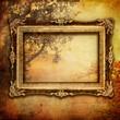 autumn composition with antique frame