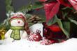 Schneemann mit Christstern und Kugeln