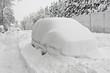 Leinwanddruck Bild - Auto mit Schneehaube