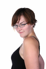 cute, sassy young woman with short hair and glasses