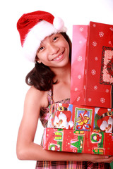 young lady with christmas gifts