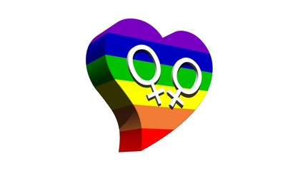 Lesbian couple in rainbow color heart