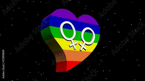 Lesbian couple in rainbow color heart in stary night