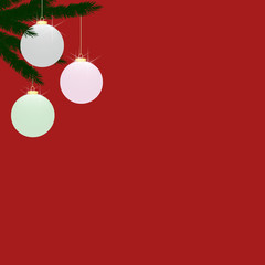 Glass Christmas Tree Baubles on Plain Red