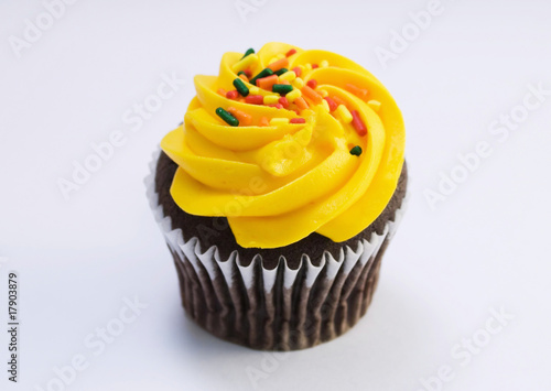 isolated fancy cupcake with sprinkles