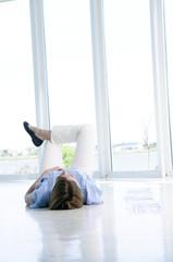 Creative lying on the floor