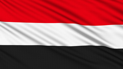 Yemen Flag, with real structure of a fabric