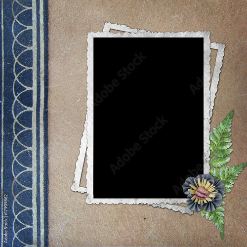 vintage background with frame and flower