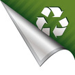 Recycling symbol icon on vector peeled corner tab