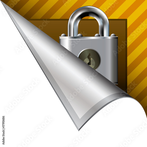 Secure or lock icon on vector peeled corner tab