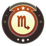 Scorpio zodiac astrology sign on autumn button poster