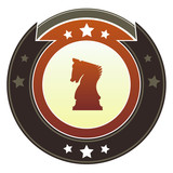 Chess or strategic planning icon on autumn button poster