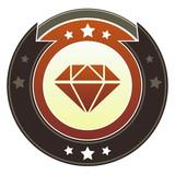 Diamond or prize icon on autumn button poster