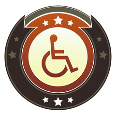 Handicapped or wheelchair symbol on autumn button