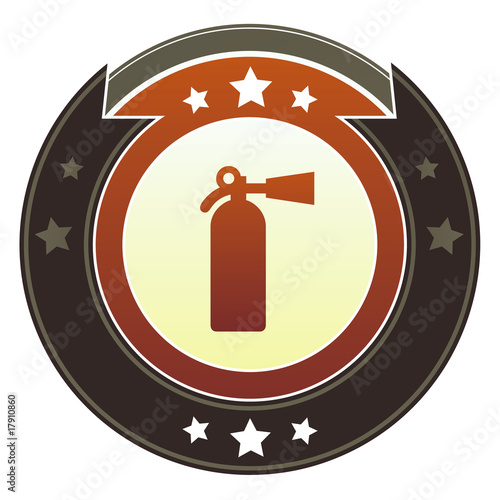 Fire extinguisher or safety icon on autumn button