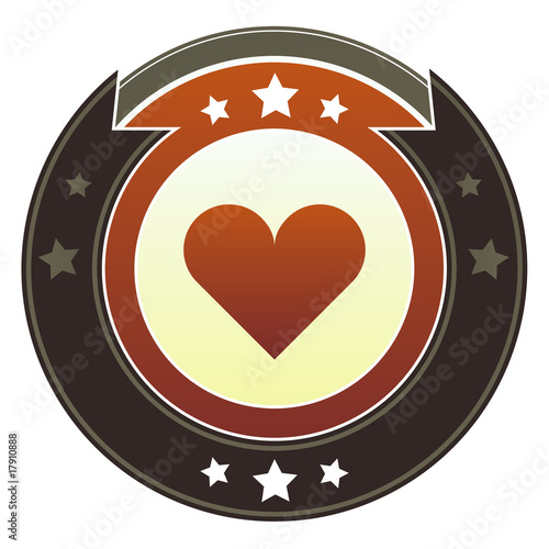 Heart or love icon on autumn button