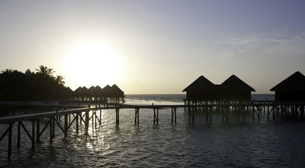 Water Villa in the sunset, Maldives