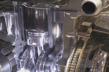 Interior of car engine working