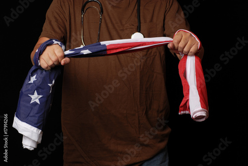 men using American flag to debat health care reform