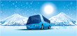 amusing bus in mountains by a winter morning - 17914819