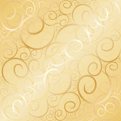 Old gold swirl wallpaper background. Vector illustration.
