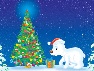Polar Bear wearing Christmas cap near Christmas tree