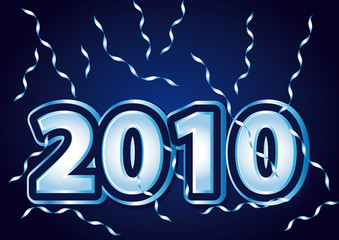 Blue 2010 Happy New Year illustration.