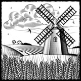 Fototapety Landscape with windmill black and white