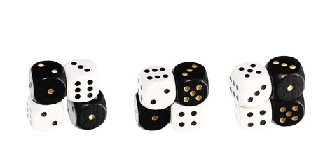 Dice close up, isolated on a white background