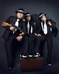 Three gangsters. Gangster gang Photo.