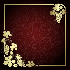 Claret background with  frame from gold vine