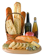 still life with bread with wine and oil