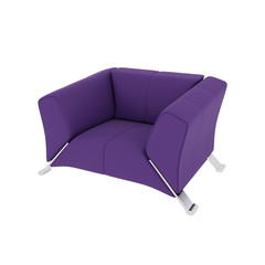 Graceful violet armchair on a white background